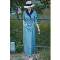 Dress Autumn of 2019 Light blue + Navy S,M,L,XL longuette singleton  Long sleeves commute V-neck double-breasted A-line skirt routine Type A Art in literature Suit green fruit collar double breasted side seam pocket cross waistband double sided two color composite YQ37A hemp