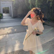 Dress Summer 2021 Black, off white S,L,M Short skirt singleton  Short sleeve commute V-neck High waist Socket A-line skirt routine Others 18-24 years old One for one Stitching, bows 51% (inclusive) - 70% (inclusive) other polyester fiber