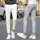 Casual pants Others Youth fashion White, gray, black, sapphire, army green, sky blue 28,29,30,31,32,33,34,36 thin Ninth pants Other leisure Self cultivation Micro bomb eight hundred and twenty-five summer youth tide 2021 Medium high waist Little feet Cotton 98% polyurethane elastic fiber (spandex) 2%