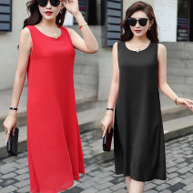 Women's large Summer 2021 Dress singleton  commute easy thin Conjoined Sleeveless Solid color Korean version Crew neck polyester fiber Three dimensional cutting 96% and above Medium length other tassels