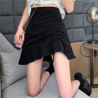 skirt Autumn 2020 S,M,L White, black Short skirt commute High waist Ruffle Skirt Solid color Type A 18-24 years old 30% and below other other Korean version