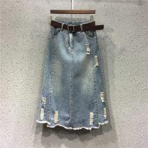 skirt Summer of 2019 S [90-100kg], m [100-110kg], l [110-120kg], XL [120-135kg], 2XL [135-150kg], 3XL [150-165kg], 4XL [165-175kg], 5XL [175-200kg] Mid length dress commute High waist Denim skirt Solid color Type A 18-24 years old Denim Coardiarn / Kuandian Korean version