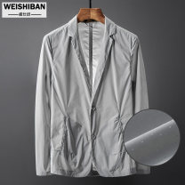 Jacket Vesper Youth fashion White light grey black M L XL 2XL 3XL 4XL 5XL thin Self cultivation Travel? summer Polyester 100% Long sleeves Wear out tailored collar Business Casual routine Single breasted Round hem Summer of 2019 Button decoration Side seam pocket Pure e-commerce (online only)
