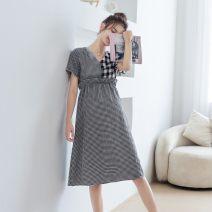 Dress Mother rabbit black S M L XL leisure time Short sleeve Medium length summer V-neck Ingredients: fabric: 58.2% viscose 41.8% polyester fabric: 57.1% viscose 42.9% polyester 24561A01