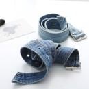 Belt / belt / chain Denim Blue, light blue female belt cowboy Single loop Pin buckle soft surface 4cm alloy Big flower Denim belt (2 colors) 105cm