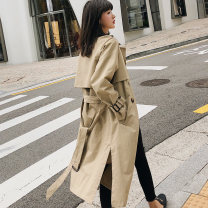 Windbreaker Autumn of 2018 S M L khaki Long sleeves routine Medium length commute double-breasted other raglan sleeve Solid color Straight cylinder Korean version Ha Qian Pocket strap button 96% and above cotton cotton polyester fiber Cotton 100% Pure e-commerce (online only)