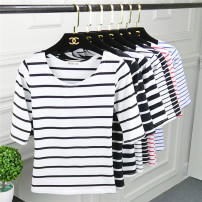 T-shirt Thick wide stripe blue stripe red stripe White Stripe Black Stripe wide black stripe wide white stripe Pay attention to the long sleeve activity of small gifts from the store, ask the customer service for 19 yuan, take a picture of SML XL 2XL Spring of 2018 Short sleeve Crew neck Regular 834#