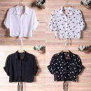 Lace / Chiffon Summer 2021 Rose red, white, violet, black, white star on black background, black star on white background S,M,L,XL Short sleeve Versatile Cardigan singleton  Self cultivation have cash less than that is registered in the accounts V-neck Solid color Bat sleeve 18-24 years old