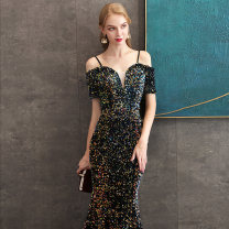 Dress / evening wear Weddings, adulthood parties, company annual meetings, daily appointments S M L XL Picture color fashion longuette middle-waisted Autumn of 2019 fish tail One shoulder Bandage 26-35 years old Nail bead Solid color Dai Mengxue other New polyester 80% other 20%