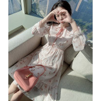 Women's large Spring 2021 Dress S M L XL Dress singleton  commute easy moderate Socket Long sleeves Broken flowers Korean version other Medium length polyester fiber Three dimensional cutting Petal sleeve Princess Tina 25-29 years old Bandage 96% and above Medium length Pure e-commerce (online only)