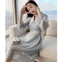 Women's large Spring 2021 Dress L XL S M Dress singleton  commute Self cultivation moderate Socket Long sleeves lattice Korean version other Medium length polyester fiber Three dimensional cutting routine Princess Tina 25-29 years old Button 96% and above Medium length Pure e-commerce (online only)