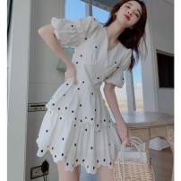 Dress Summer 2021 Dress S M L XL Middle-skirt singleton  Short sleeve commute V-neck High waist Dot Socket Cake skirt puff sleeve Others 25-29 years old Type A Princess Tina Korean version Embroidery fold More than 95% other cotton Cotton 99% other 1% Pure e-commerce (online only)