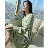 Women's large Spring 2021 Dress L XL S M Dress singleton  commute Self cultivation moderate Socket Long sleeves Solid color Korean version other Medium length polyester fiber Three dimensional cutting routine Princess Tina 25-29 years old Button 96% and above Medium length Princess Dress