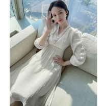 Women's large Spring 2021 Dress L XL S M Dress singleton  commute Self cultivation moderate Socket Long sleeves Solid color Korean version V-neck Medium length polyester fiber Three dimensional cutting routine Princess Tina 25-29 years old Button 96% and above Medium length Princess Dress