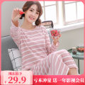 Pajamas / housewear set female Other / other cotton Long sleeves Sweet Leisure home autumn routine Crew neck Cartoon animation Socket youth one-piece garment rubber string 81% (inclusive) - 95% (inclusive) Knitted cotton fabric printing 220g longuette