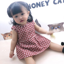 Dress Red and white plaid sleeveless dress, black and white plaid sleeveless dress female Other / other 66cm,73cm,80cm,90cm,100cm Cotton 95% other 5% summer Korean version Short sleeve lattice cotton other Class A 3 months, 12 months, 6 months, 9 months, 18 months, 2 years old Chinese Mainland