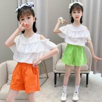 suit Other / other Light green, orange 110cm,120cm,130cm,140cm,150cm,160cm female summer Sweet Short sleeve + pants 2 pieces Thin money There are models in the real shooting Socket nothing Solid color Pure cotton (100% cotton content) children Travel Class B Chinese Mainland Shanghai