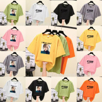 T-shirt RMB 6.8 for 30 pieces, RMB 6.2 for 50 pieces, RMB 5.8 for 100 pieces, RMB 5.5 for 500 pieces and RMB 3.7 for 99999 pieces Large size 120-160 Jin wear a variety of matching delivery Summer 2020 Short sleeve Crew neck easy Regular routine commute cotton 86% (inclusive) -95% (inclusive) printing