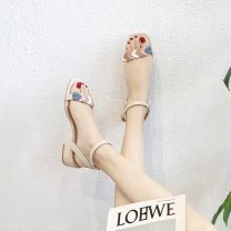 Sandals 32,33,34,35,36,37,38,39,40,41,42,43 Apricot, red, light pink Superfine fiber Other / other Barefoot Thick heel Low heel (1-3cm) Summer 2020 Flat buckle Sweet Color matching Adhesive shoes Youth (18-40 years old) rubber daily Back space Light mouth, color matching, thick heel Low Gang Hollow