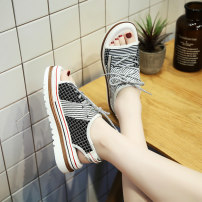 Sandals 35 36 37 38 39 40 Grey black Textile Admiration Barefoot Flat bottom Middle heel (3-5cm) Summer 2020 Trochanter leisure time Color matching Adhesive shoes Youth (18-40 years old) rubber daily Rear trip strap Cross strapping hollow out color matching muffin and waterproof platform Low Gang PU