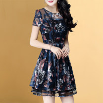 Dress Korean version Polyester 96.5% polyurethane elastic fiber (spandex) 3.5% Pure e-commerce (online sales only) Summer 2020 Short skirt singleton  middle-waisted Short sleeve commute Crew neck Design and color Condom routine A-line skirt More than 95% 30-34 years old polyester fiber Weiwei Type A