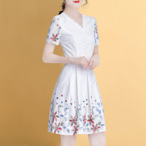 Dress Spring 2020 white M L XL 2XL 3XL 4XL Middle-skirt singleton  Short sleeve commute V-neck middle-waisted Broken flowers Socket A-line skirt routine Others 30-34 years old Type A Weiwei Korean version Embroidered hook cut out zipper lace HQ2003L7833 91% (inclusive) - 95% (inclusive)