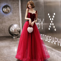 Dress / evening wear Weddings, adulthood parties, company annual meeting, performance date Customized XS S M L XL XXL claret Korean version longuette middle-waisted Autumn of 2019 Fall to the ground Sling type Bandage 18-25 years old KW19121 Sleeveless Diamond ornament Solid color Kang Wei other