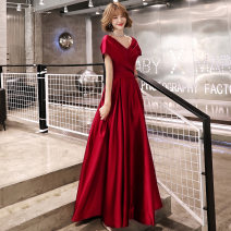 Dress / evening wear Weddings, adulthood parties, company annual meeting, performance date XS M L XL XXL tailored s claret Korean version longuette middle-waisted Autumn of 2019 Fall to the ground Deep collar V Bandage 18-25 years old KW19119 Short sleeve Solid color Kang Wei other Other 100% other
