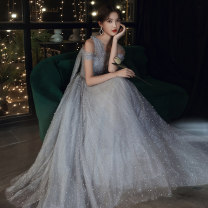 Dress / evening wear Weddings, adulthood parties, company annual meetings, daily appointments Customized XS S M L XL XXL Kw20069 grey long Sweet longuette middle-waisted Winter 2020 Fall to the ground Single shoulder type Bandage 18-25 years old KW20069 Short sleeve Nail bead Solid color Kang Wei