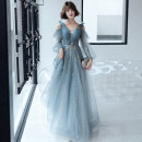 Dress / evening wear Weddings, adulthood parties, company annual meeting, performance date XS S M L XL XXL Light blue Korean version longuette middle-waisted Autumn of 2019 Fall to the ground Deep collar V Deep V style 18-25 years old KW19117 Long sleeves flower Solid color Kang Wei other Other 100%