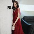 Dress / evening wear Weddings, adulthood parties, company annual meetings, daily appointments Customized XS S M L XL XXL claret Korean version longuette middle-waisted Winter of 2019 Fall to the ground Deep collar V zipper 18-25 years old Sleeveless Nail bead Solid color Kang Wei other Other 100%