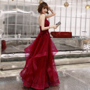 Dress / evening wear Wedding party company annual meeting performance date XS S M L XL XXL Burgundy Burgundy medium length blue (with sequins) Korean version longuette middle-waisted Autumn of 2019 Fall to the ground Sling type Bandage 18-25 years old KW19112 Sleeveless Embroidery Solid color routine