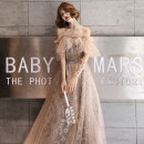 Dress / evening wear Weddings, adulthood parties, company annual meeting, performance date Customized XS S M L XL XXL Champagne Korean version longuette middle-waisted Autumn of 2019 Fall to the ground Sling type Bandage 18-25 years old KW19123 elbow sleeve Nail bead Solid color Kang Wei other other