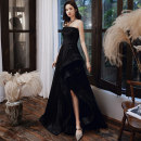 Dress / evening wear Weddings, adulthood parties, company annual meeting, performance date Customized XS S M L XL XXL black Korean version longuette middle-waisted Winter of 2019 Fall to the ground Chest type Bandage 18-25 years old Sleeveless Embroidery Solid color Kang Wei other Other 100% other