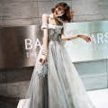 Dress / evening wear Weddings, adulthood parties, company annual meetings, daily appointments grey Korean version longuette middle-waisted Autumn of 2019 Fall to the ground One shoulder Bandage 18-25 years old Sleeveless Embroidery Solid color Kang Wei other Other 100% Exclusive payment of tmall