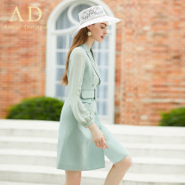 Dress Autumn of 2019 Dress S M L XL Middle-skirt singleton  Long sleeves commute tailored collar middle-waisted Solid color 30-34 years old AD Ol style Q315 91% (inclusive) - 95% (inclusive) polyester fiber Polyester fiber 90.5% polyurethane elastic fiber (spandex) 9.5% Pure e-commerce (online only)