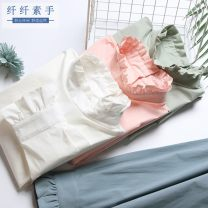 shirt White smog blue fresh water powder Matcha green stripe S M L XS Autumn of 2018 cotton 96% and above Long sleeves Sweet Regular Lotus leaf collar Lotus leaf sleeve Solid color 18-24 years old Fibrinogen hand CS753 Cotton 100% solar system