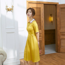 Dress Summer 2021 Yellow [quality version] S M L Mid length dress singleton  Short sleeve Sweet Polo collar High waist Solid color Three buttons A-line skirt routine Others 18-24 years old Type X Yi Basha Button zipper X11604 More than 95% other other Lyocell 100% Countryside