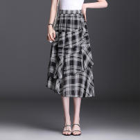 skirt Summer 2021 Average size Black and white Mid length dress Versatile High waist Ruffle Skirt lattice Type A 35-39 years old GHNW904-1 More than 95% Chiffon Other / other other Ruffles, folds, asymmetry, stitching, elastic waist