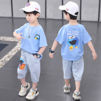 suit Star fun Blue yellow white purple coffee green black 110cm 120cm 130cm 140cm 150cm 160cm male summer leisure time Short sleeve + pants 2 pieces Thin money There are models in the real shooting Socket nothing other children Learning reward 21000-1 Class B Summer 2020 Chinese Mainland Huzhou City