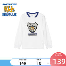 T-shirt Bright white / 0019 medieval Blue / 007d SKECHERS / SKECHERS 110cm 120cm 130cm 140cm 150cm 160cm 170cm male spring and autumn Long sleeves leisure time nothing Artificial colored cotton stripe Other 100% L121B096 Class B Spring 2021 Four, five, six, seven, eight, nine, ten, eleven, twelve