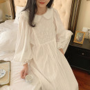 Nightdress Other / other White, blue 155(S),160(M),165(L),170(XL) Sweet Long sleeves pajamas longuette autumn Solid color youth Crew neck cotton lace More than 95% pure cotton 300g