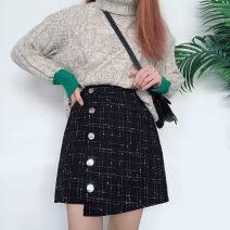 skirt Winter of 2019 M,L,XL,2XL,3XL,4XL black Short skirt Versatile High waist Irregular other Wool polyester fiber Asymmetric, button, zipper