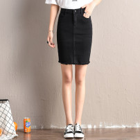 skirt Summer of 2019 26 27 28 29 30 31 32 33 34 36 38 40 J278 black Mid length dress sexy High waist Denim skirt Solid color Type H J278 51% (inclusive) - 70% (inclusive) Shunxin cotton Cotton 68.9% polyester 28.9% polyurethane elastic fiber (spandex) 2.2% Pure e-commerce (online only)