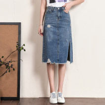 skirt Summer of 2019 26 27 28 29 30 31 32 33 34 36 38 40 blue Mid length dress Versatile High waist Denim skirt Solid color Type H 25-29 years old J282 81% (inclusive) - 90% (inclusive) Denim Shunxin cotton Cotton 80.8% polyester 16.2% viscose 3% Pure e-commerce (online only)