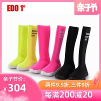 Boots / snow boots other neutral Edo 1 ° / degree Black fluorescent yellow phosphor rubber spring and autumn Fashion boots Medium boots Flat bottom Trochanter Sewing Flat head children Autumn of 2019