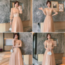 Dress / evening wear Weddings, adulthood parties, company annual meetings, daily appointments XXS XS S M L XL XXL grace longuette middle-waisted Winter 2020 Fall to the ground square neck Bandage 18-25 years old BL-2042 Nail bead Solid color Simpson puff sleeve Polyester 100% Pearl