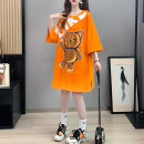 T-shirt Orange black white Average size Summer 2021 Short sleeve Crew neck easy Medium length routine commute cotton 96% and above 18-24 years old Korean version originality Cartoon animation Boli square Printed diamond Cotton 96% pet 4% Pure e-commerce (online only)