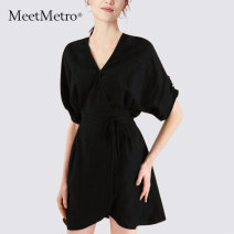 Dress Summer 2021 black S M L XL Middle-skirt singleton  elbow sleeve commute V-neck High waist Solid color other A-line skirt Bat sleeve Others 25-29 years old Type X MeetMetro Simplicity ME469623 71% (inclusive) - 80% (inclusive) other Lyocell fiber (Lyocell) 78.8% flax 21.2%