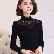 T-shirt S,M,L,XL,2XL,3XL,4XL,5XL Spring 2021 Long sleeves stand collar Self cultivation have cash less than that is registered in the accounts routine commute other 96% and above 30-34 years old Korean version originality Solid color, stitching Zilimo